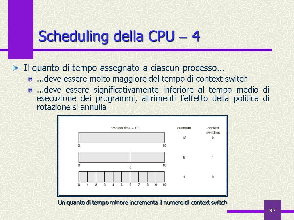 37 Scheduling della CPU 4 Il quanto di tempo assegnato a ciascun processo......deve essere molto maggiore del tempo di context switch...deve essere si