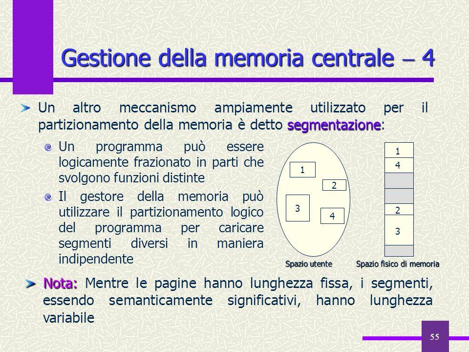 55 Gestione della memoria centrale 4 Un programma può essere logicamente frazionato in parti che svolgono funzioni distinte Il gestore della memoria p