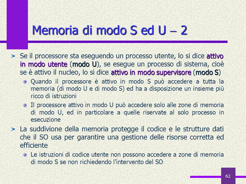 62 Memoria di modo S ed U 2 attivo in modo utentemodo U attivo in modo supervisoremodo S Se il processore sta eseguendo un processo utente, lo si dice
