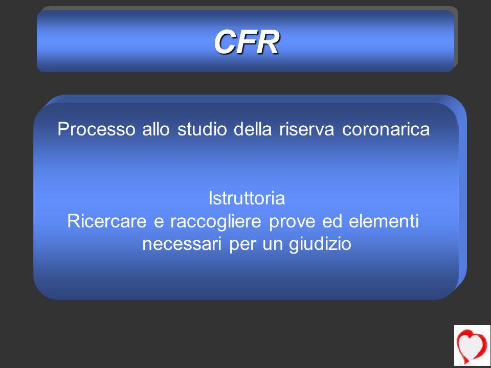 CFRCFR Processo allo studio della riserva coronarica Istruttoria Ricercare e raccogliere prove ed elementi necessari per un giudizio