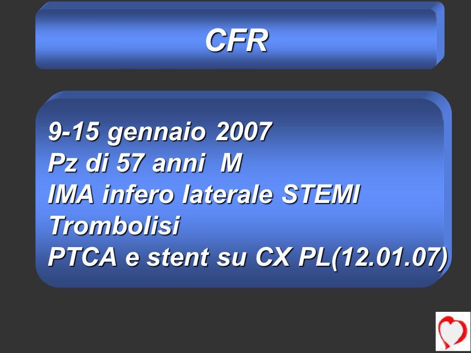 CFR 9-15 gennaio 2007 Pz di 57 anni M IMA infero laterale STEMI Trombolisi PTCA e stent su CX PL(12.01.07)