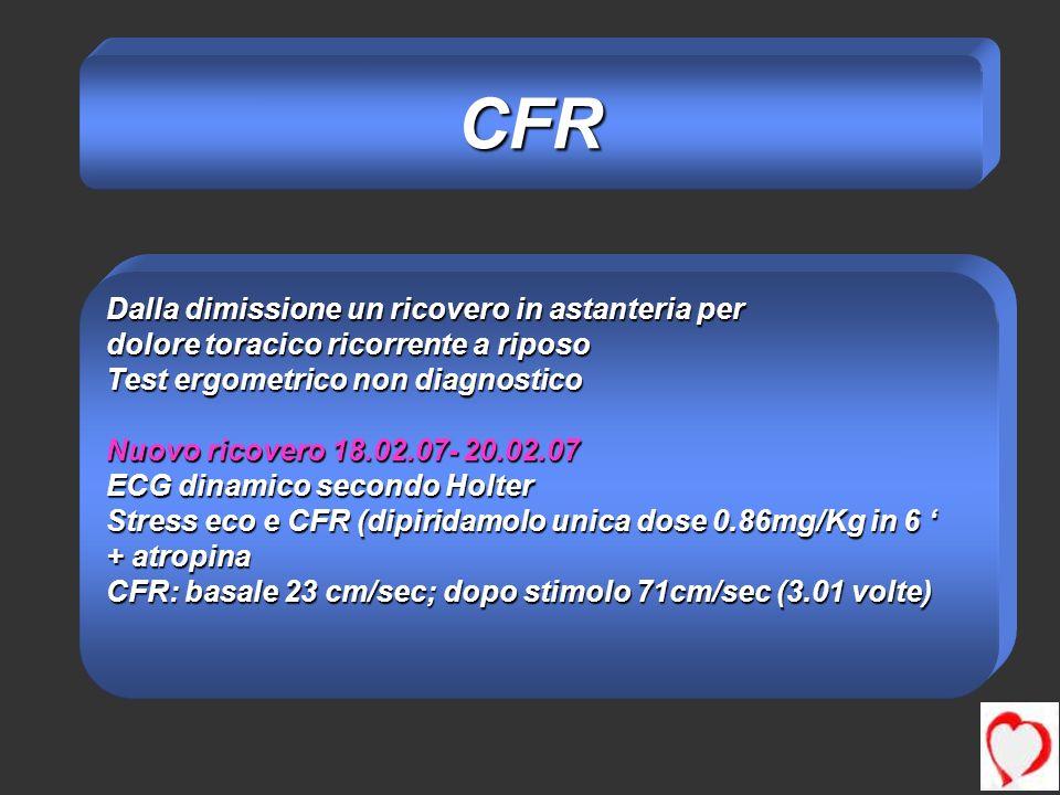 Dalla dimissione un ricovero in astanteria per dolore toracico ricorrente a riposo Test ergometrico non diagnostico Nuovo ricovero 18.02.07- 20.02.07 ECG dinamico secondo Holter Stress eco e CFR (dipiridamolo unica dose 0.86mg/Kg in 6 Stress eco e CFR (dipiridamolo unica dose 0.86mg/Kg in 6 + atropina CFR: basale 23 cm/sec; dopo stimolo 71cm/sec (3.01 volte) CFR