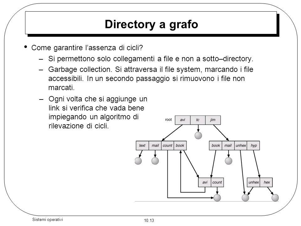 10.13 Sistemi operativi Directory a grafo Come garantire lassenza di cicli? –Si permettono solo collegamenti a file e non a sotto–directory. –Garbage