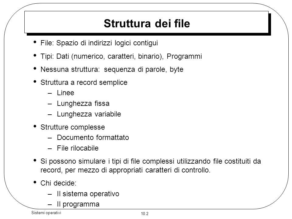 10.2 Sistemi operativi Struttura dei file File: Spazio di indirizzi logici contigui Tipi: Dati (numerico, caratteri, binario), Programmi Nessuna strut