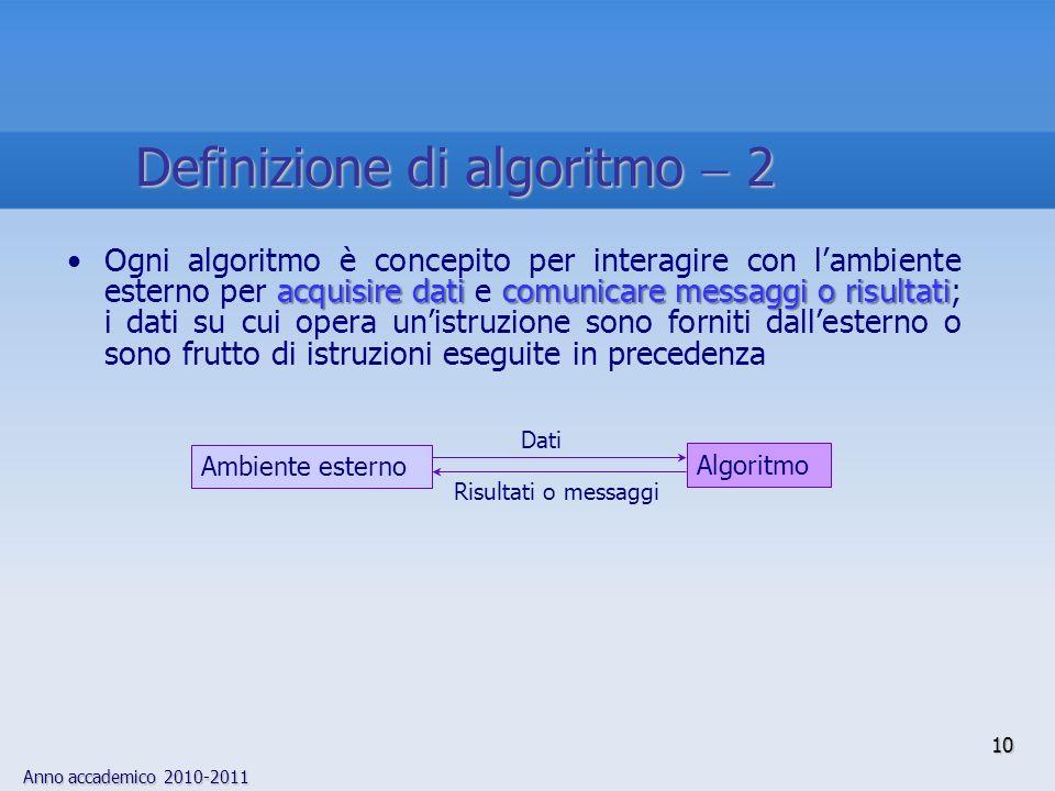 Anno accademico 2010-2011 10 acquisire dati comunicare messaggi o risultatiOgni algoritmo è concepito per interagire con lambiente esterno per acquisi