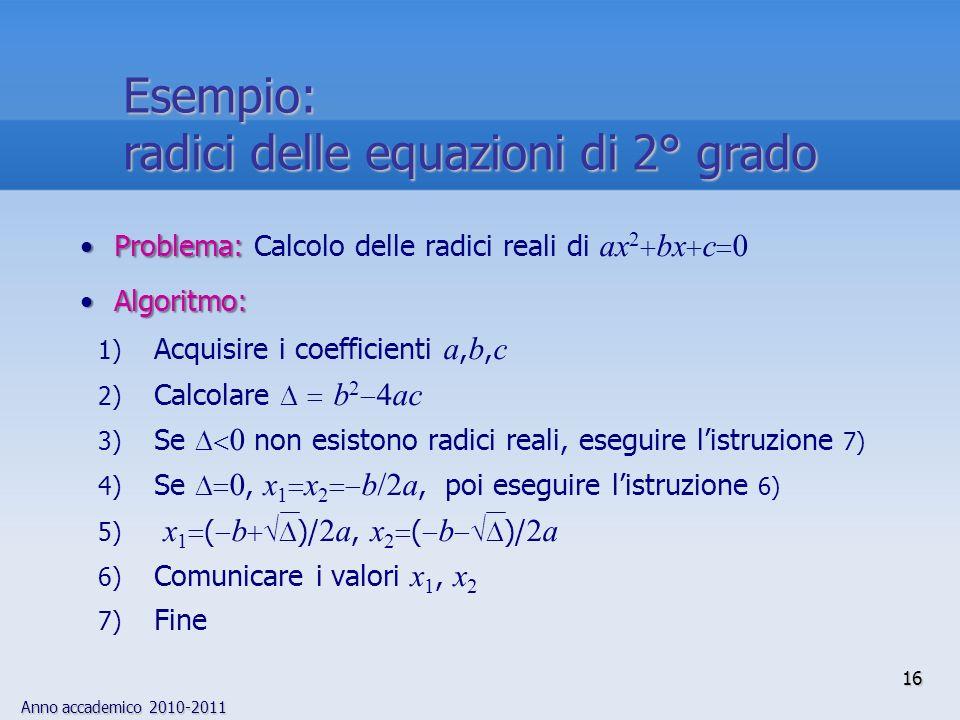 Anno accademico 2010-2011 16 Problema:Problema: Calcolo delle radici reali di ax 2 bx c 0 Algoritmo:Algoritmo: 1) Acquisire i coefficienti a, b, c 2)