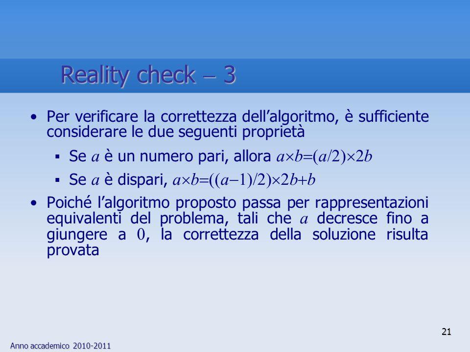 Anno accademico 2010-2011 21 Per verificare la correttezza dellalgoritmo, è sufficiente considerare le due seguenti proprietà Se a è un numero pari, a