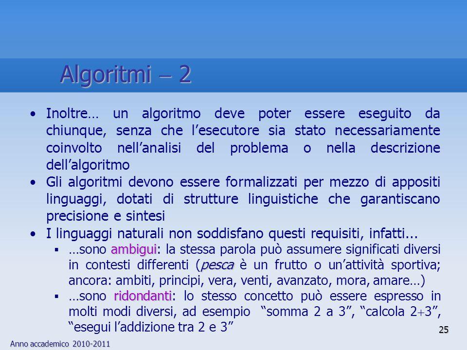 Anno accademico 2010-2011 25 Inoltre… un algoritmo deve poter essere eseguito da chiunque, senza che lesecutore sia stato necessariamente coinvolto ne