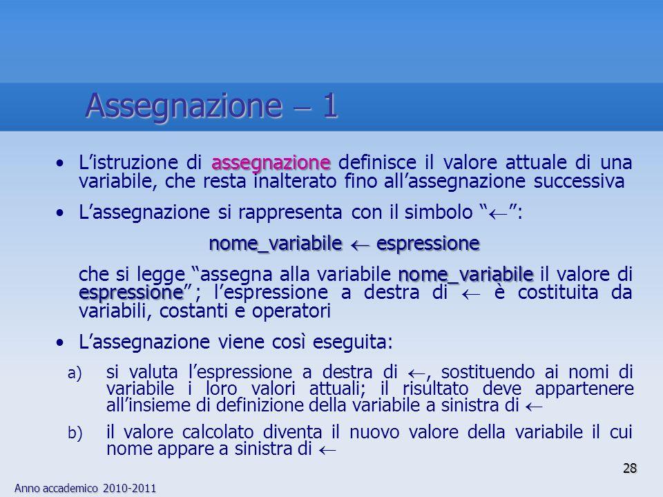 Anno accademico 2010-2011 28 assegnazioneListruzione di assegnazione definisce il valore attuale di una variabile, che resta inalterato fino allassegn