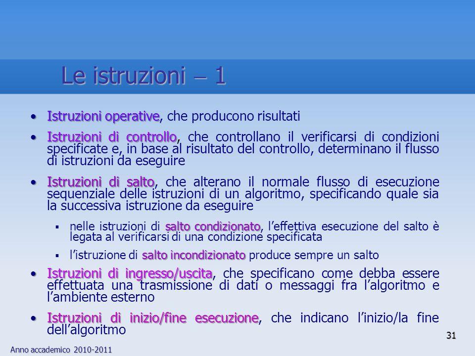 Anno accademico 2010-2011 31 Istruzioni operativeIstruzioni operative, che producono risultati Istruzioni di controlloIstruzioni di controllo, che con