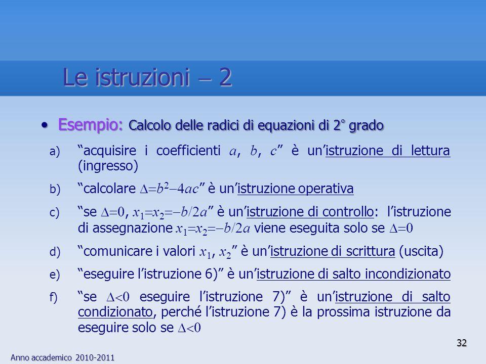 Anno accademico 2010-2011 32 Esempio: Calcolo delle radici di equazioni di 2 ° gradoEsempio: Calcolo delle radici di equazioni di 2 ° grado a) acquisi