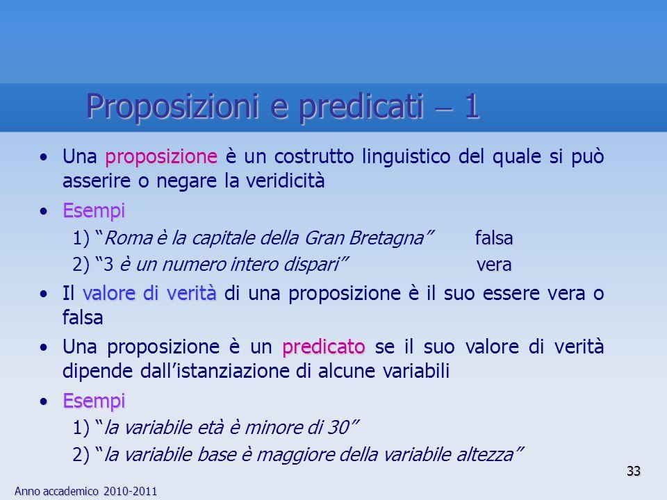 Anno accademico 2010-2011 33 proposizioneUna proposizione è un costrutto linguistico del quale si può asserire o negare la veridicità EsempiEsempi fal