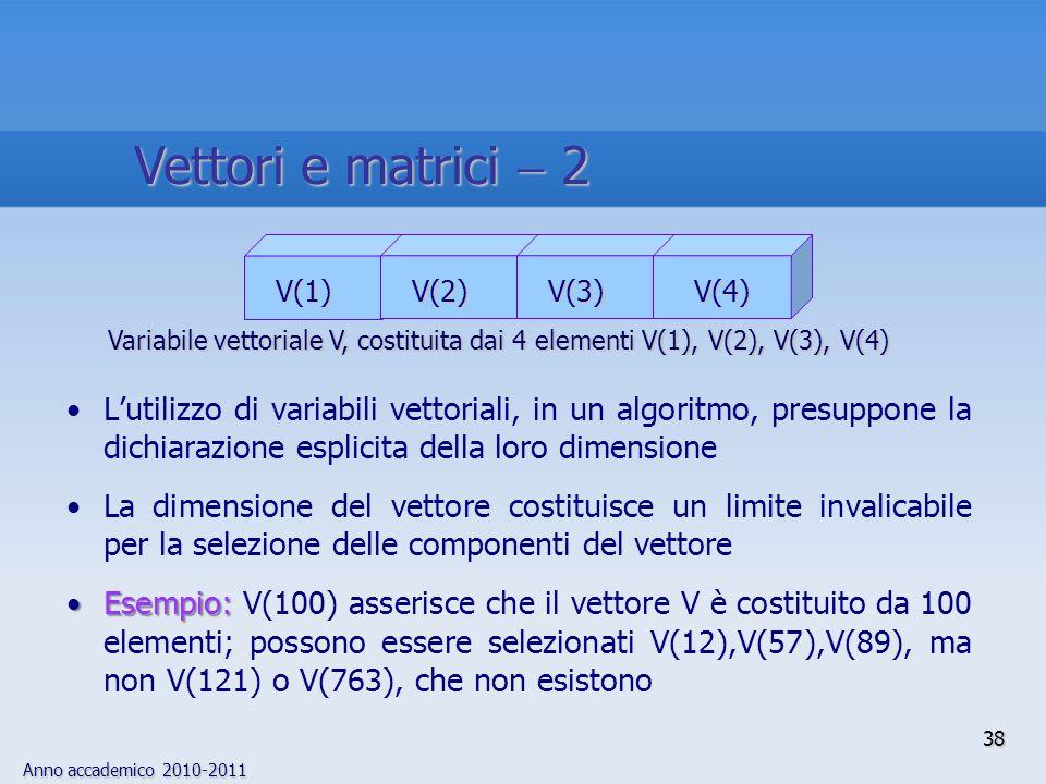 Anno accademico 2010-2011 38 Lutilizzo di variabili vettoriali, in un algoritmo, presuppone la dichiarazione esplicita della loro dimensione La dimens