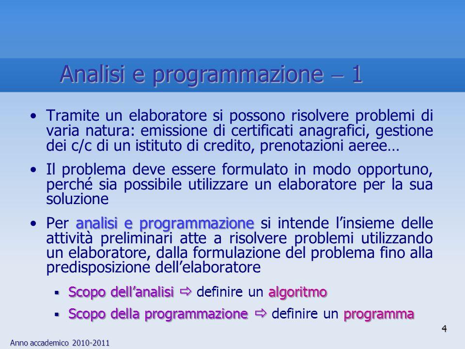 Anno accademico 2010-2011 4 Tramite un elaboratore si possono risolvere problemi di varia natura: emissione di certificati anagrafici, gestione dei c/
