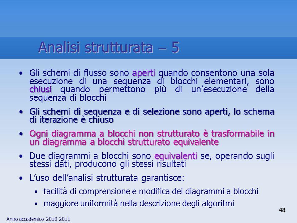 Anno accademico 2010-2011 aperti chiusiGli schemi di flusso sono aperti quando consentono una sola esecuzione di una sequenza di blocchi elementari, s
