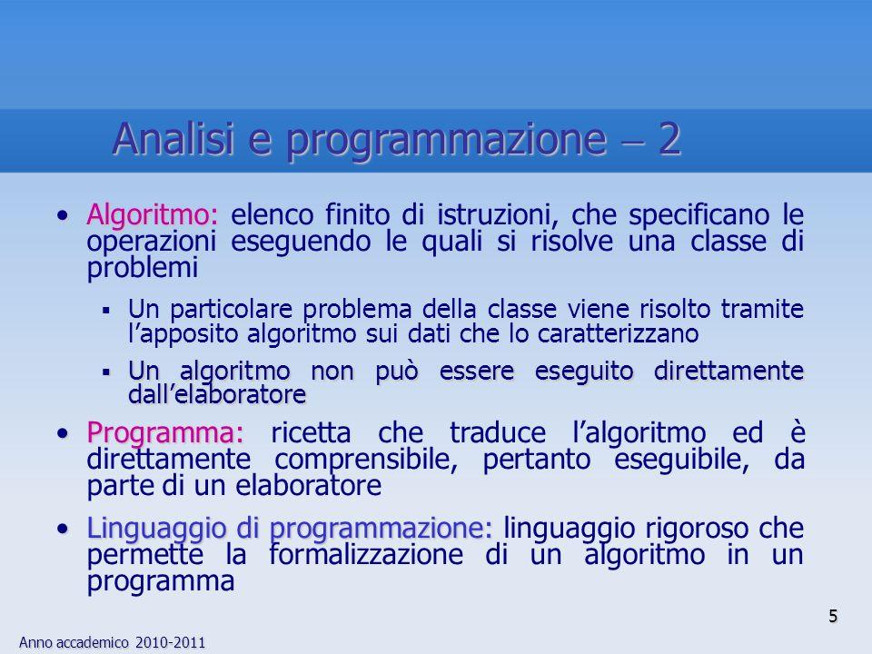 Anno accademico 2010-2011 5 Analisi e programmazione 2 Algoritmo:Algoritmo: elenco finito di istruzioni, che specificano le operazioni eseguendo le qu