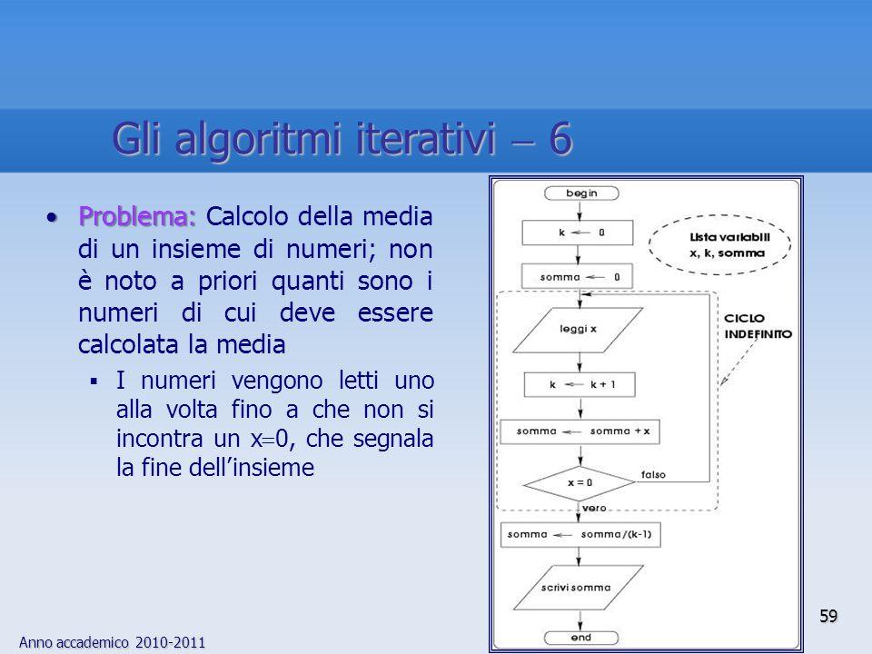 Anno accademico 2010-2011 Problema:Problema: Calcolo della media di un insieme di numeri; non è noto a priori quanti sono i numeri di cui deve essere
