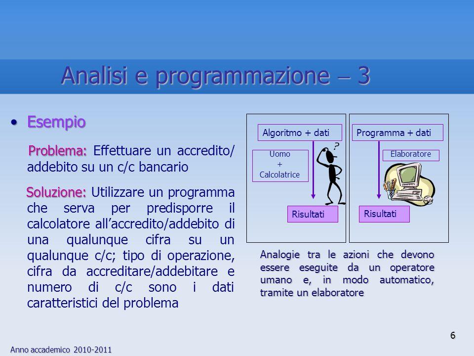 Anno accademico 2010-2011 6 EsempioEsempio Problema: Problema: Effettuare un accredito/ addebito su un c/c bancario Soluzione: Soluzione: Utilizzare u