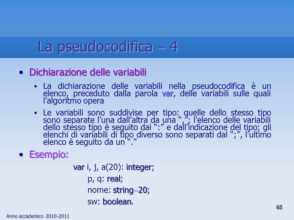 Anno accademico 2010-2011 Dichiarazione delle variabiliDichiarazione delle variabili var La dichiarazione delle variabili nella pseudocodifica è un el