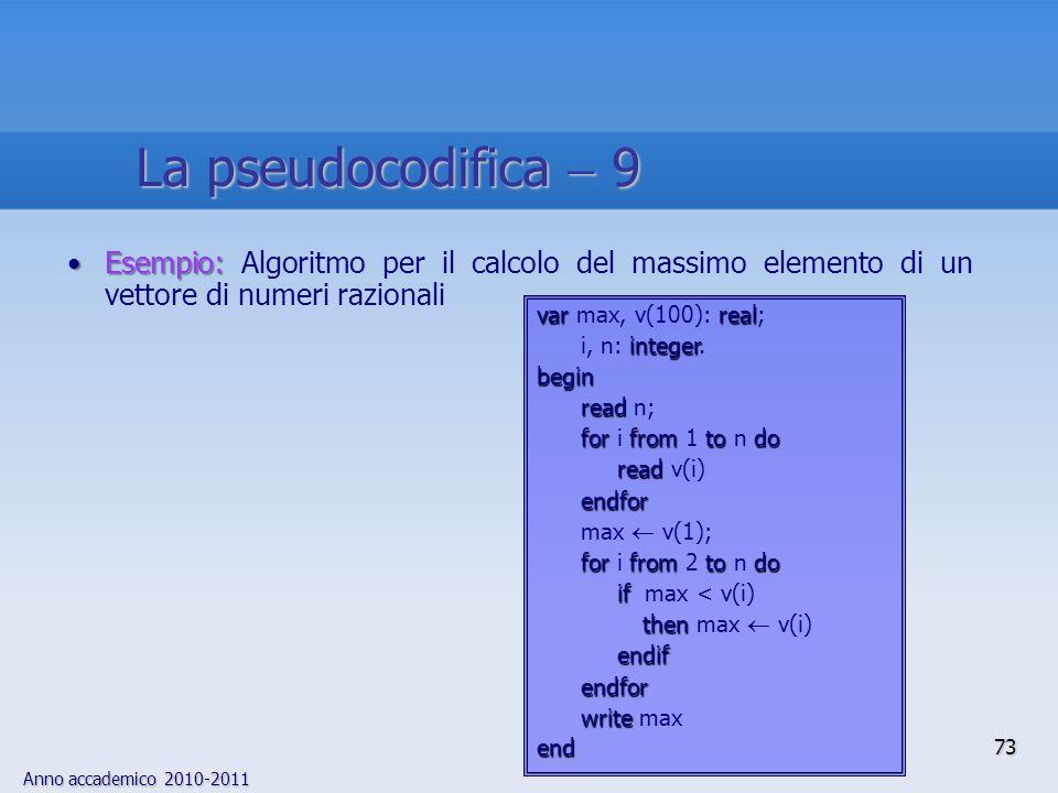Anno accademico 2010-2011 Esempio:Esempio: Algoritmo per il calcolo del massimo elemento di un vettore di numeri razionali varreal var max, v(100): re