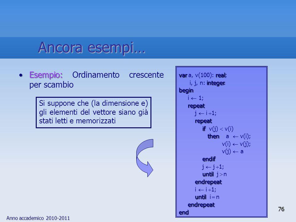 Anno accademico 2010-2011 Esempio:Esempio: Ordinamento crescente per scambio varreal var a, v(100): real; integer i, j, n: integer.begin i 1; repeat j