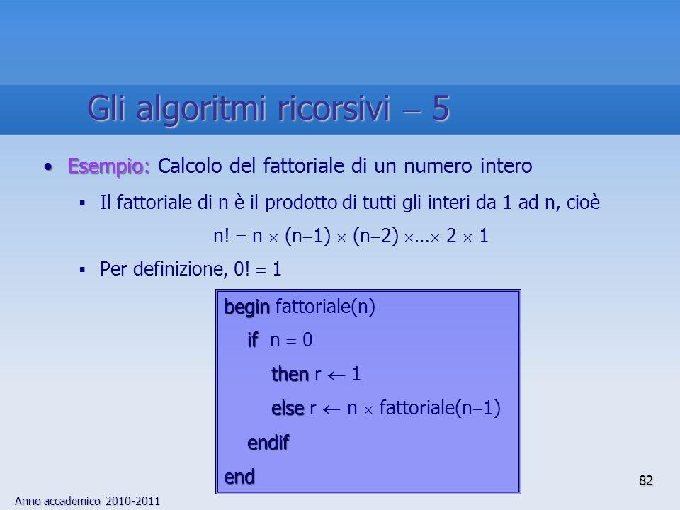 Anno accademico 2010-2011 Esempio:Esempio: Calcolo del fattoriale di un numero intero Il fattoriale di n è il prodotto di tutti gli interi da 1 ad n,
