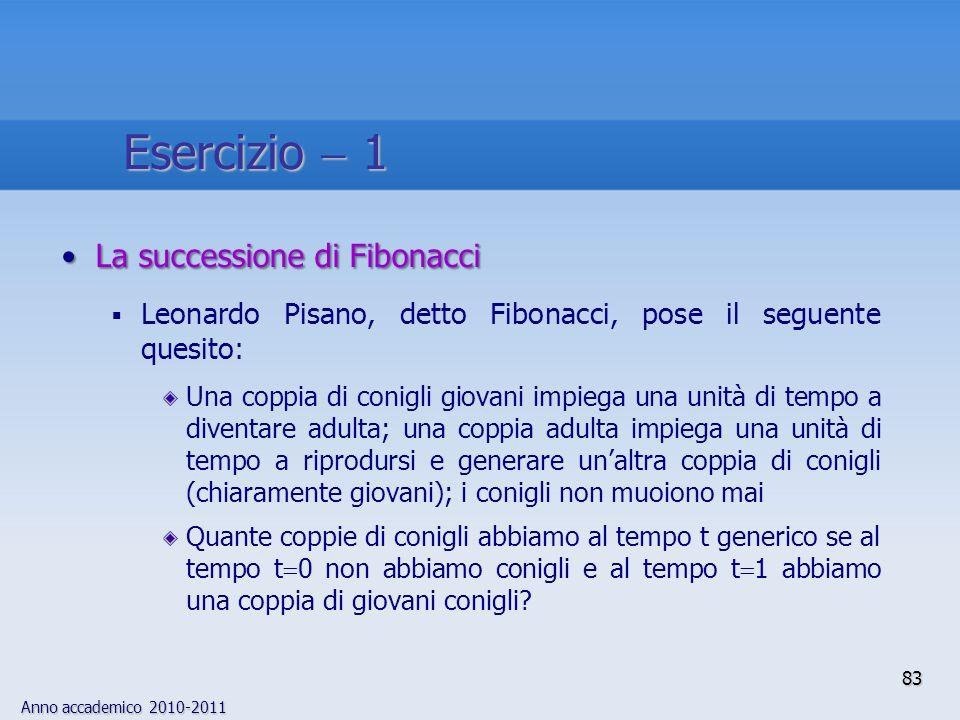 Anno accademico 2010-2011 La successione di FibonacciLa successione di Fibonacci Leonardo Pisano, detto Fibonacci, pose il seguente quesito: Una coppi