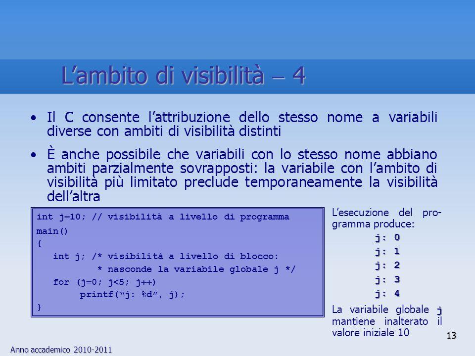 Anno accademico 2010-2011 Il C consente lattribuzione dello stesso nome a variabili diverse con ambiti di visibilità distinti È anche possibile che va
