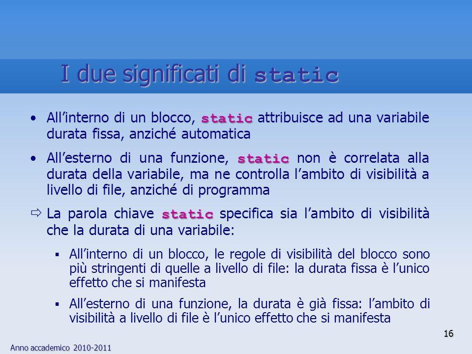 Anno accademico 2010-2011 staticAllinterno di un blocco, static attribuisce ad una variabile durata fissa, anziché automatica staticAllesterno di una