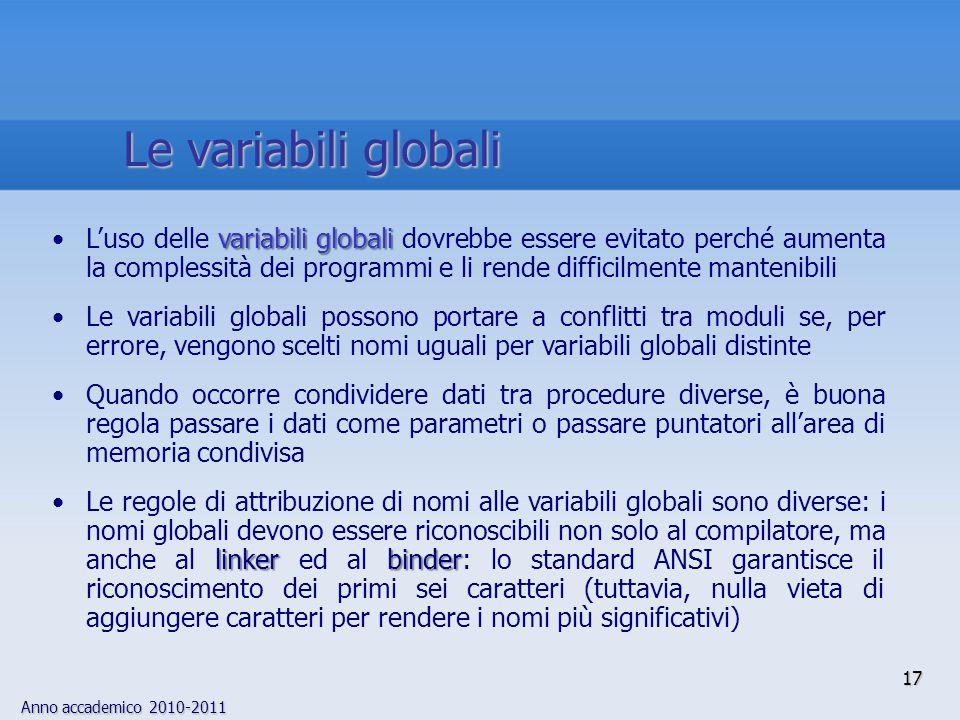 Anno accademico 2010-2011 variabili globaliLuso delle variabili globali dovrebbe essere evitato perché aumenta la complessità dei programmi e li rende