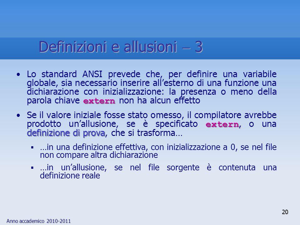 Anno accademico 2010-2011 externLo standard ANSI prevede che, per definire una variabile globale, sia necessario inserire allesterno di una funzione u