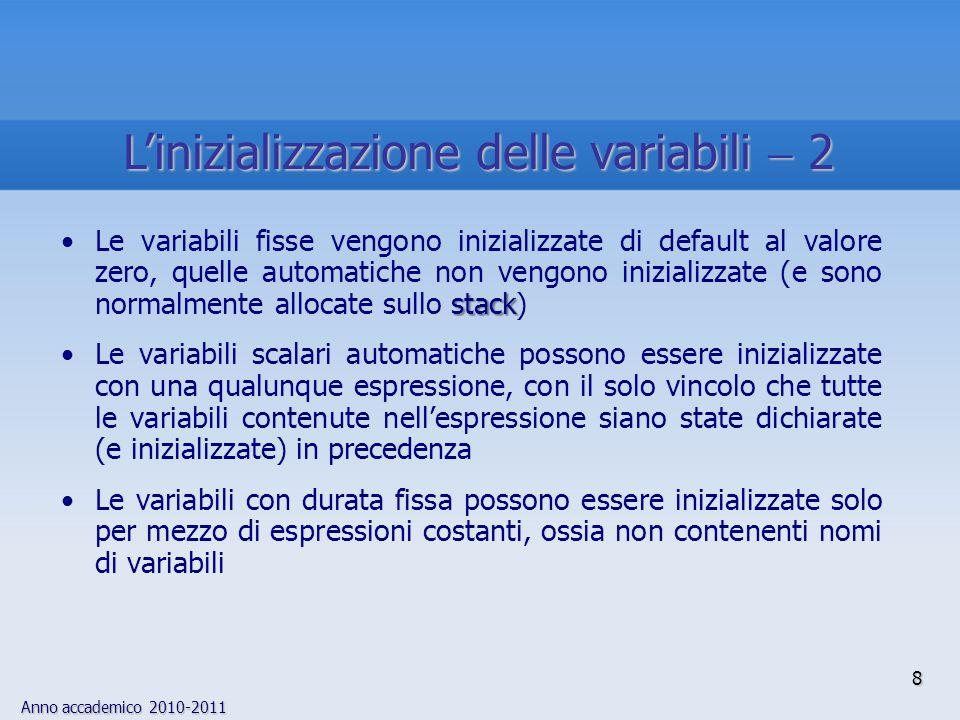 Anno accademico 2010-2011 stackLe variabili fisse vengono inizializzate di default al valore zero, quelle automatiche non vengono inizializzate (e son