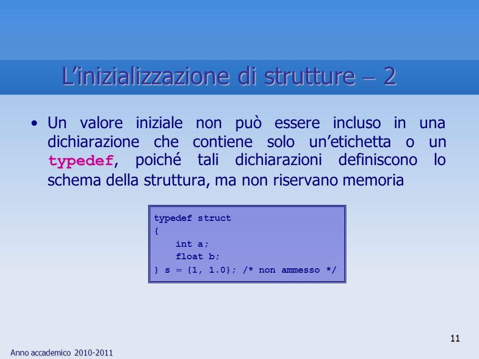 Anno accademico 2010-2011 typedefUn valore iniziale non può essere incluso in una dichiarazione che contiene solo unetichetta o un typedef, poiché tali dichiarazioni definiscono lo schema della struttura, ma non riservano memoria typedef struct { int a; float b; } s {1, 1.0}; /* non ammesso */ 11 Linizializzazione di strutture 2