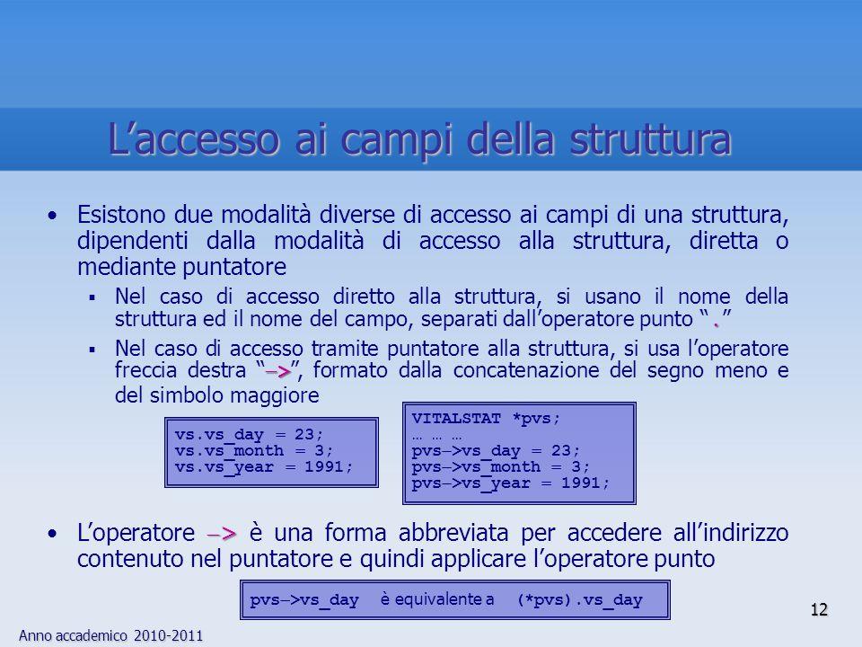 Anno accademico 2010-2011 12 Laccesso ai campi della struttura Esistono due modalità diverse di accesso ai campi di una struttura, dipendenti dalla modalità di accesso alla struttura, diretta o mediante puntatore.