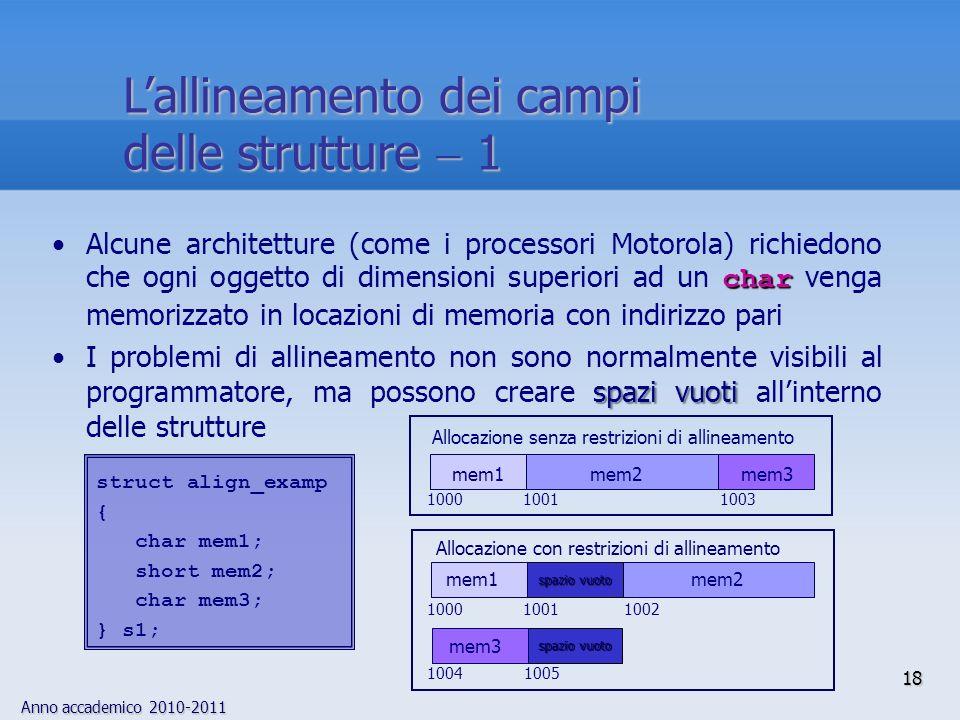 Anno accademico 2010-2011 18 Lallineamento dei campi delle strutture 1 charAlcune architetture (come i processori Motorola) richiedono che ogni oggetto di dimensioni superiori ad un char venga memorizzato in locazioni di memoria con indirizzo pari spazi vuotiI problemi di allineamento non sono normalmente visibili al programmatore, ma possono creare spazi vuoti allinterno delle strutture struct align_examp { char mem1; short mem2; char mem3; } s1; mem1mem2mem3 mem1mem2 mem3 spazio vuoto Allocazione con restrizioni di allineamento Allocazione senza restrizioni di allineamento 10001001 1003 1002 1000 1001 1004 1005
