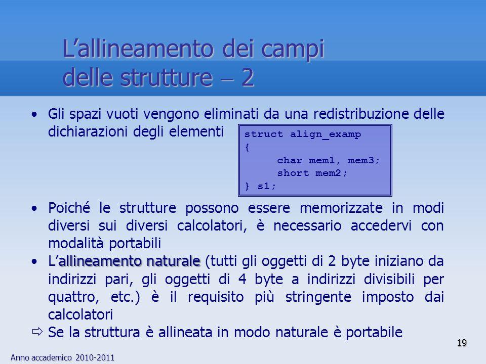 Anno accademico 2010-2011 19 Lallineamento dei campi delle strutture 2 Gli spazi vuoti vengono eliminati da una redistribuzione delle dichiarazioni de