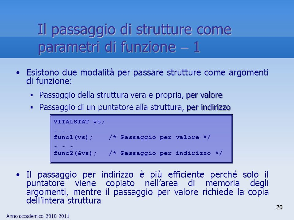 Anno accademico 2010-2011 20 Il passaggio di strutture come parametri di funzione 1 Esistono due modalità per passare strutture come argomenti di funzione: per valore Passaggio della struttura vera e propria, per valore per indirizzo Passaggio di un puntatore alla struttura, per indirizzo Il passaggio per indirizzo è più efficiente perché solo il puntatore viene copiato nellarea di memoria degli argomenti, mentre il passaggio per valore richiede la copia dellintera struttura VITALSTAT vs; … … … func1(vs); /* Passaggio per valore */ … … … func2(&vs); /* Passaggio per indirizzo */