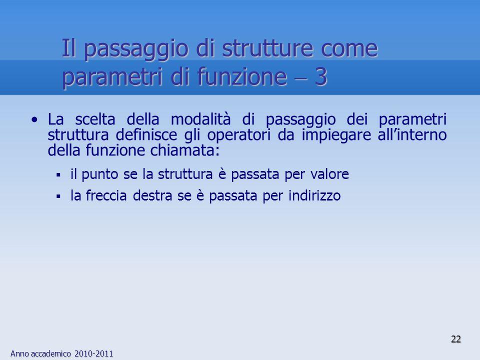 Anno accademico 2010-2011 22 Il passaggio di strutture come parametri di funzione 3 La scelta della modalità di passaggio dei parametri struttura definisce gli operatori da impiegare allinterno della funzione chiamata: il punto se la struttura è passata per valore la freccia destra se è passata per indirizzo