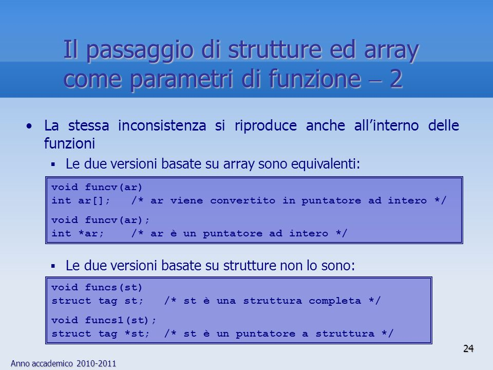 Anno accademico 2010-2011 24 Il passaggio di strutture ed array come parametri di funzione 2 La stessa inconsistenza si riproduce anche allinterno del