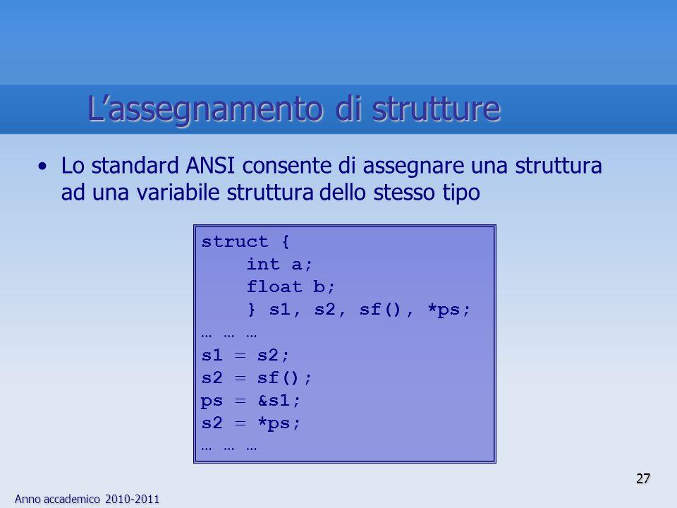 Anno accademico 2010-2011 27 Lassegnamento di strutture Lo standard ANSI consente di assegnare una struttura ad una variabile struttura dello stesso tipo struct { int a; float b; } s1, s2, sf(), *ps; … … … s1 s2; s2 sf(); ps &s1; s2 *ps; … … …