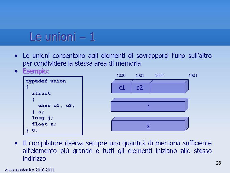 Anno accademico 2010-2011 28 Le unioni 1 Le unioni consentono agli elementi di sovrapporsi luno sullaltro per condividere la stessa area di memoria Esempio:Esempio: Il compilatore riserva sempre una quantità di memoria sufficiente allelemento più grande e tutti gli elementi iniziano allo stesso indirizzo typedef union { struct struct { char c1, c2; char c1, c2; } s; } s; long j; long j; float x; float x; } U; x j c1 c2 10001001 1004 1002
