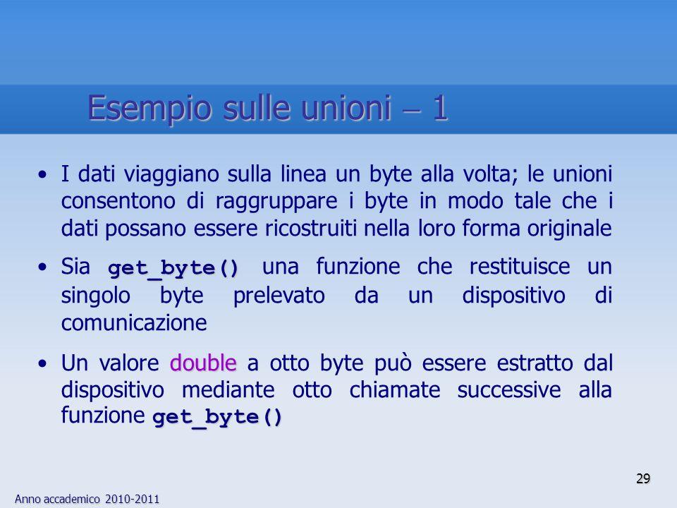 Anno accademico 2010-2011 29 Esempio sulle unioni 1 I dati viaggiano sulla linea un byte alla volta; le unioni consentono di raggruppare i byte in mod