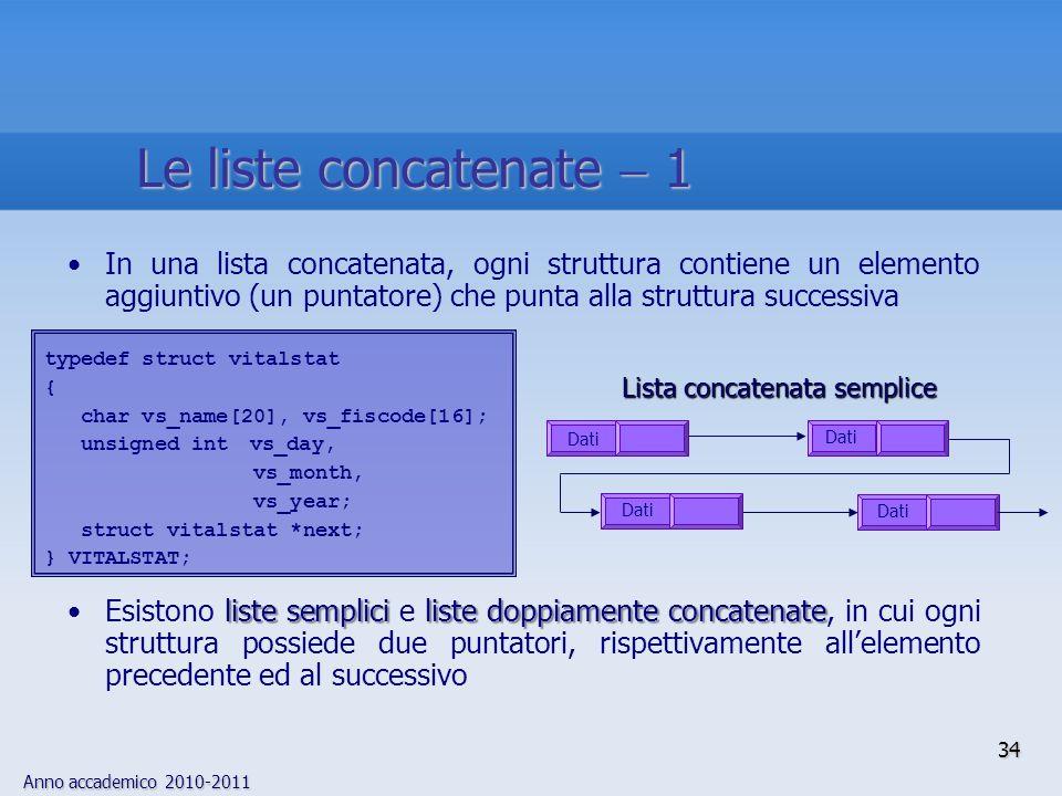 Anno accademico 2010-2011 34 Le liste concatenate 1 In una lista concatenata, ogni struttura contiene un elemento aggiuntivo (un puntatore) che punta