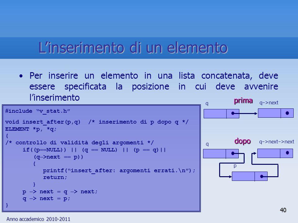 Anno accademico 2010-2011 40 Linserimento di un elemento Per inserire un elemento in una lista concatenata, deve essere specificata la posizione in cui deve avvenire linserimento q >next >next dopo q pprima q q >next include v_stat.h void insert_after(p,q) /* inserimento di p dopo q */ ELEMENT *p, *q; { /* controllo di validità degli argomenti */ if((p NULL)) || (q NULL) || (p q)|| (q >next p)) { printf(insert_after: argomenti errati.\n); return; } p > next q > next; q > next p; }