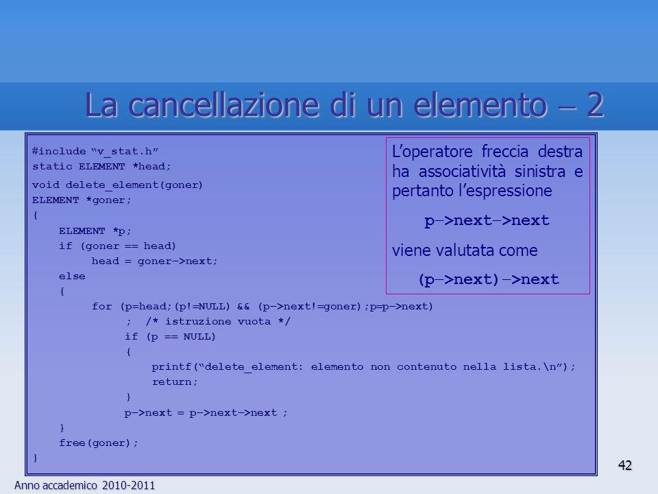Anno accademico 2010-2011 42 La cancellazione di un elemento 2 include v_stat.h static ELEMENT *head; void delete_element(goner) ELEMENT *goner; { ELEMENT *p; if (goner head) head goner >next; else { for (p head;(p.