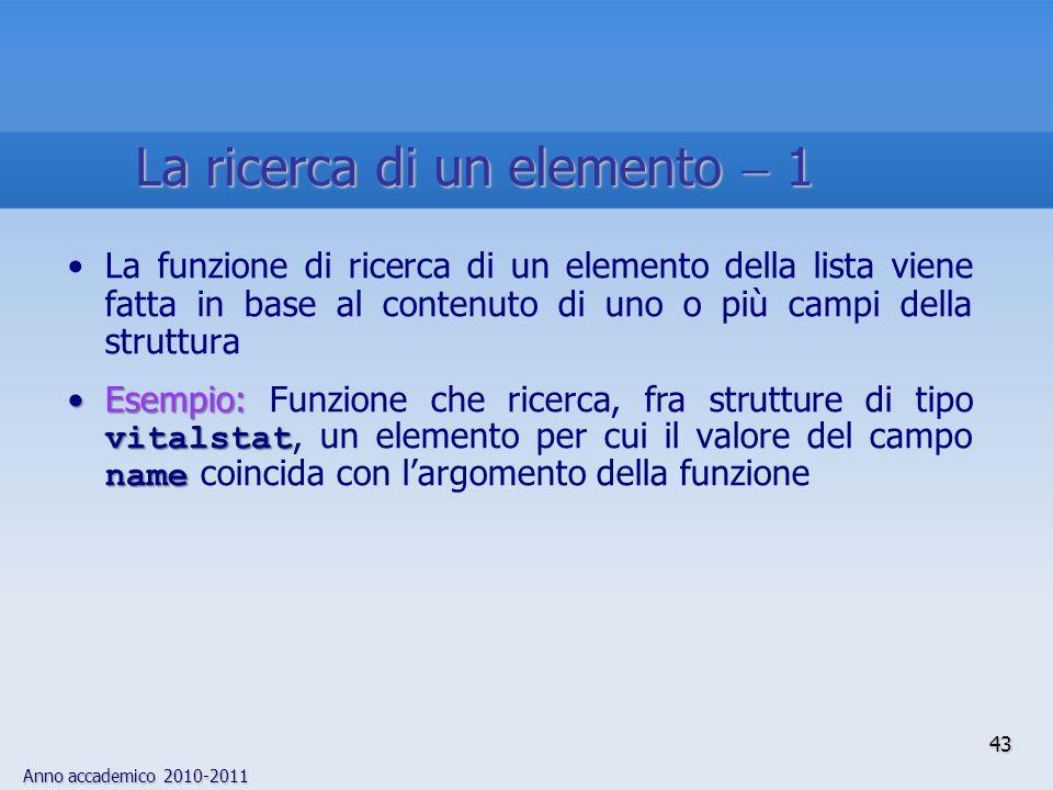 Anno accademico 2010-2011 43 La ricerca di un elemento 1 La funzione di ricerca di un elemento della lista viene fatta in base al contenuto di uno o p