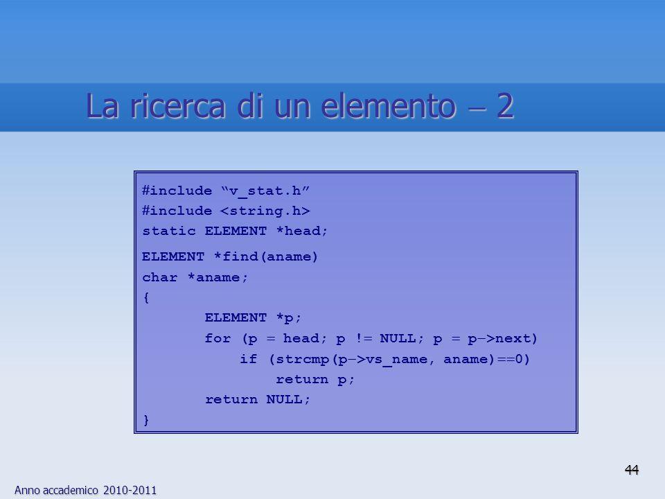 Anno accademico 2010-2011 44 La ricerca di un elemento 2 include v_stat.h include static ELEMENT *head; ELEMENT *find(aname) char *aname; { ELEMENT *p