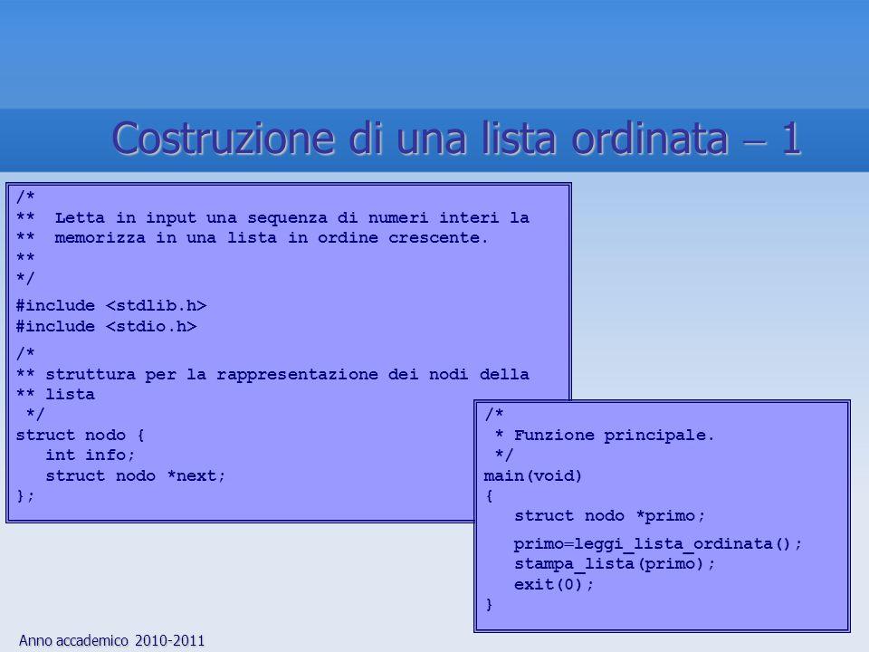 Anno accademico 2010-2011 45 Costruzione di una lista ordinata 1 /* ** Letta in input una sequenza di numeri interi la ** memorizza in una lista in ordine crescente.