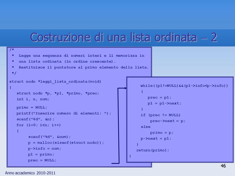 Anno accademico 2010-2011 46 Costruzione di una lista ordinata 2 /* * Legge una sequenza di numeri interi e li memorizza in * una lista ordinata (in ordine crescente).