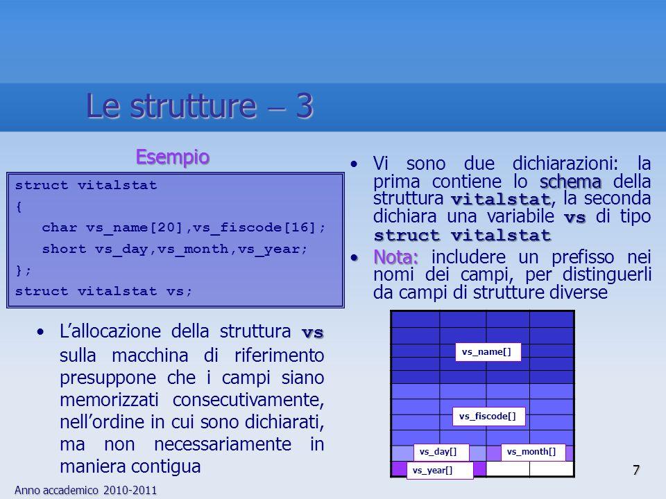 Anno accademico 2010-2011 schema vitalstat vs struct vitalstatVi sono due dichiarazioni: la prima contiene lo schema della struttura vitalstat, la sec